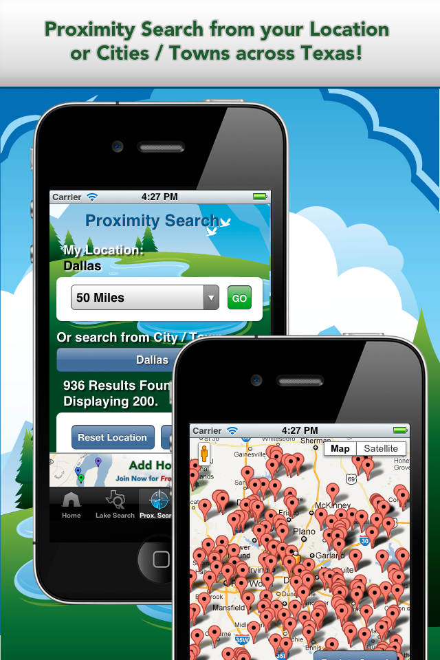 iFish Texas App Proximity Search & Map View Screens