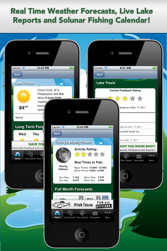 iFish Texas App Solunar Calendar, Weather Reports and Lake Reports